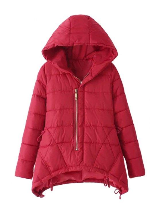 lady Asymmetrical Long Sleeve Coat For Women - RED L