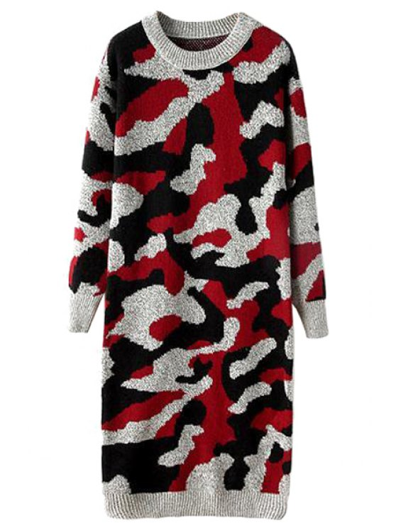 womens Camouflage Knitted Dress For Women - RED ONE SIZE(FIT SIZE XS TO M)
