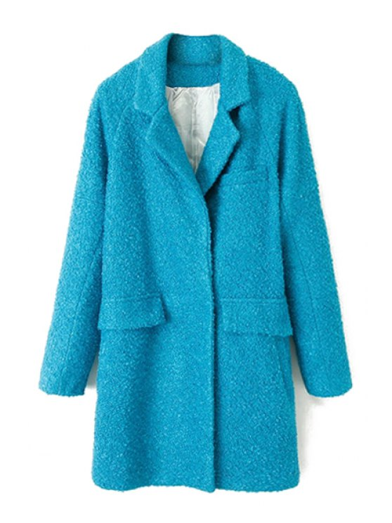 sale Solid Color Long Sleeve Coat For Women - BLUE S