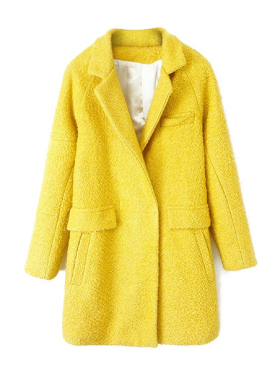 women Solid Color Long Sleeve Coat For Women - YELLOW S