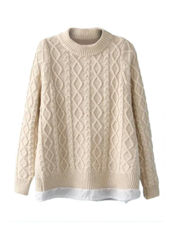 affordable Argyle Long Sleeve Sweater For Women - OFF-WHITE ONE SIZE(FIT SIZE XS TO M)