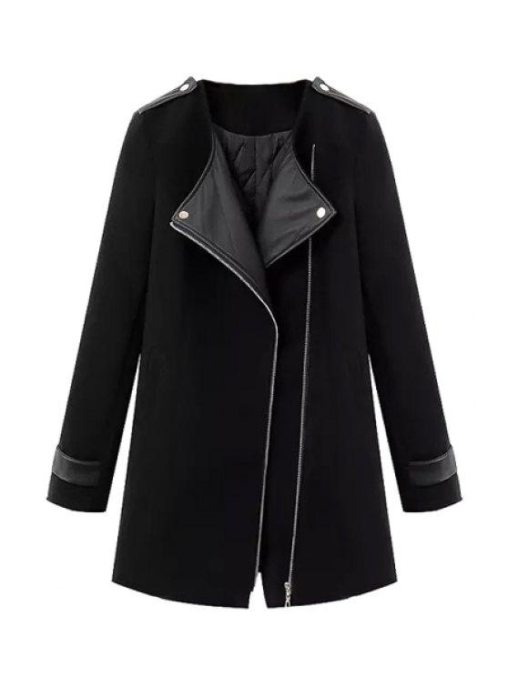 best Splicing Asymmetrical Coat For Women - BLACK S