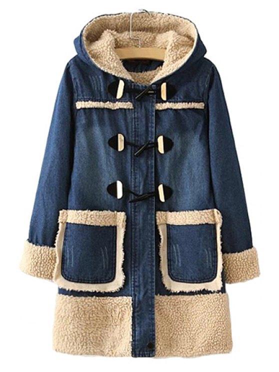 fashion Berber Fleece Long Sleeve Coat For Women - BLUE M