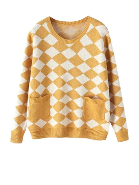 fashion Argyle Long Sleeve Sweater - GINGER ONE SIZE(FIT SIZE XS TO M)