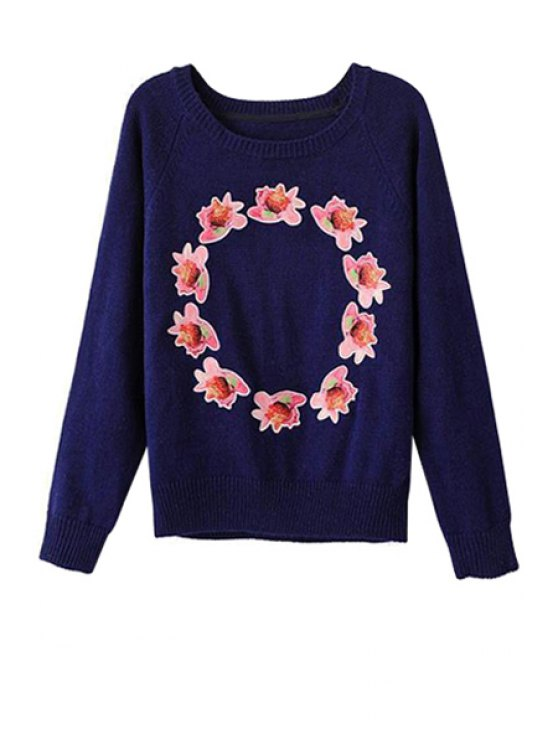 buy Flower Applique Long Sleeve Sweater - DEEP BLUE S