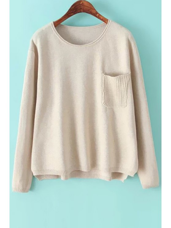 best Pocket Solid Color Long Sleeve Sweater - WHITE ONE SIZE(FIT SIZE XS TO M)