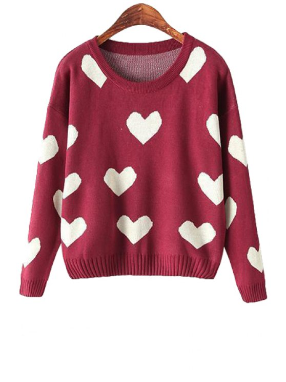 online Scoop Neck Heart Print Long Sleeve Sweater - WINE RED ONE SIZE(FIT SIZE XS TO M)