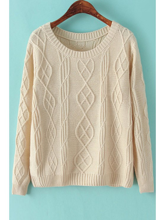 womens Solid Color Long Sleeve Cable-Knit Sweater - OFF-WHITE ONE SIZE(FIT SIZE XS TO M)