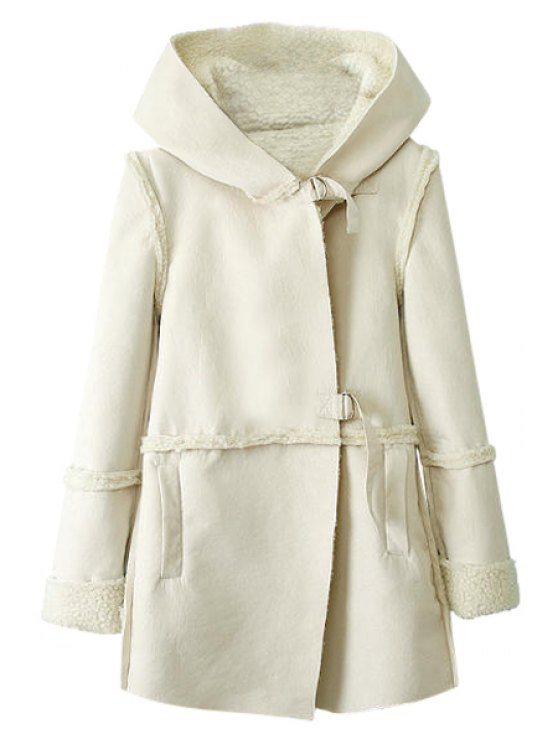 buy Lamb Wool Splicing Long Sleeve Coat - WHITE M