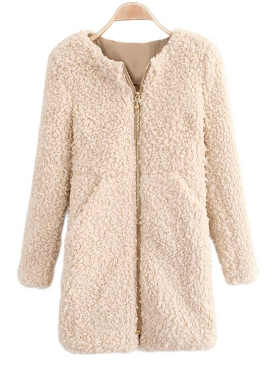 women's Solid Color Long Sleeve Lamb Wool Coat - APRICOT S