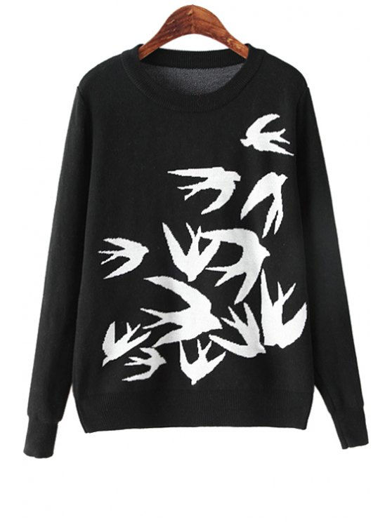 shops Swallow Pattern Long Sleeve Sweater - BLACK ONE SIZE(FIT SIZE XS TO M)