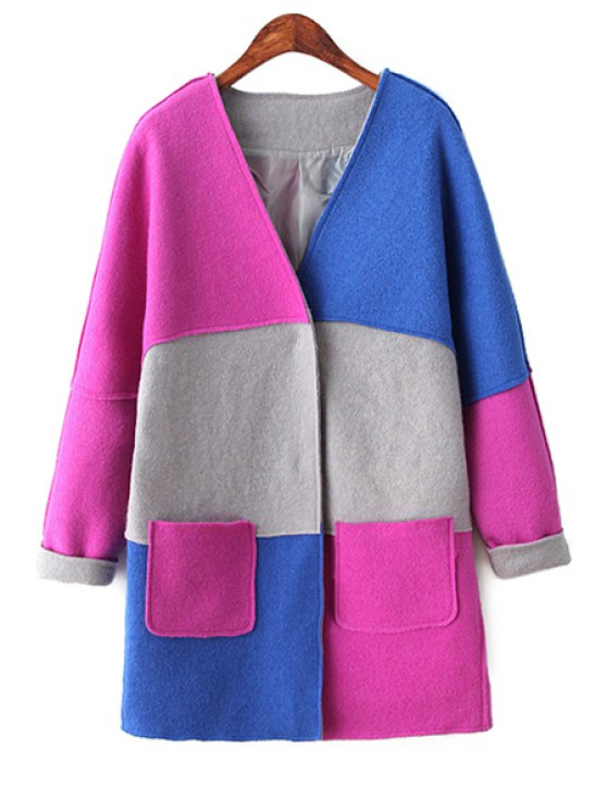 outfits Color Blcok V-Neck Long Sleeve Coat - COLORMIX ONE SIZE(FIT SIZE XS TO M)