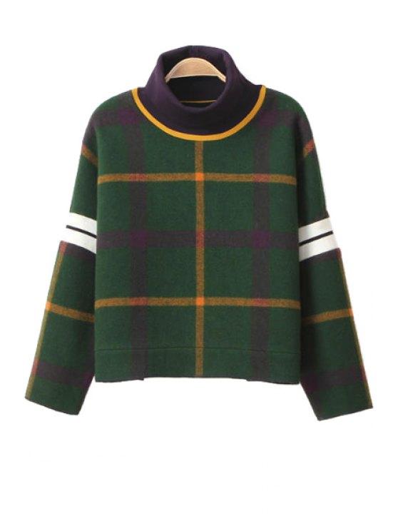 new Plaid Turtle Neck Long Sleeve Sweatshirt - GREEN S