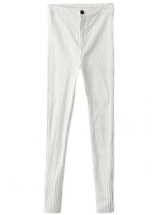 outfit Striped Narrow Feet Flocking Pants - WHITE S