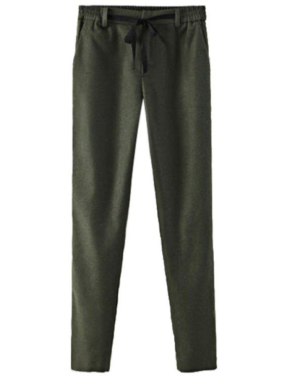 fashion Color Block Elastic Waist Lace-Up Pants - BLACKISH GREEN S
