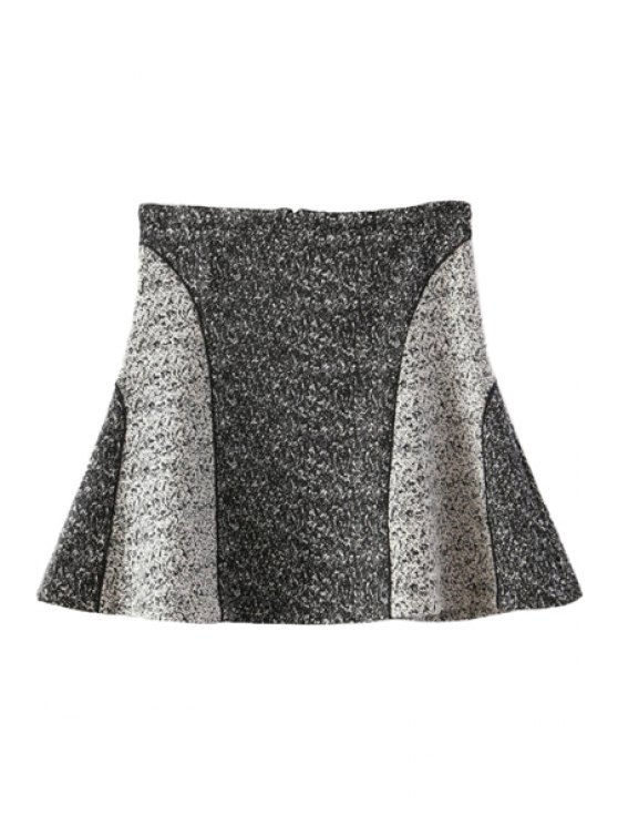 shop Color Block Splicing A-Line Skirt - GRAY S