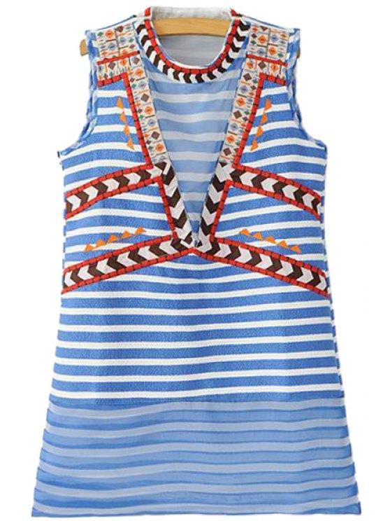 sale Striped Sleeveless Embroidery Sundress - STRIPE XS