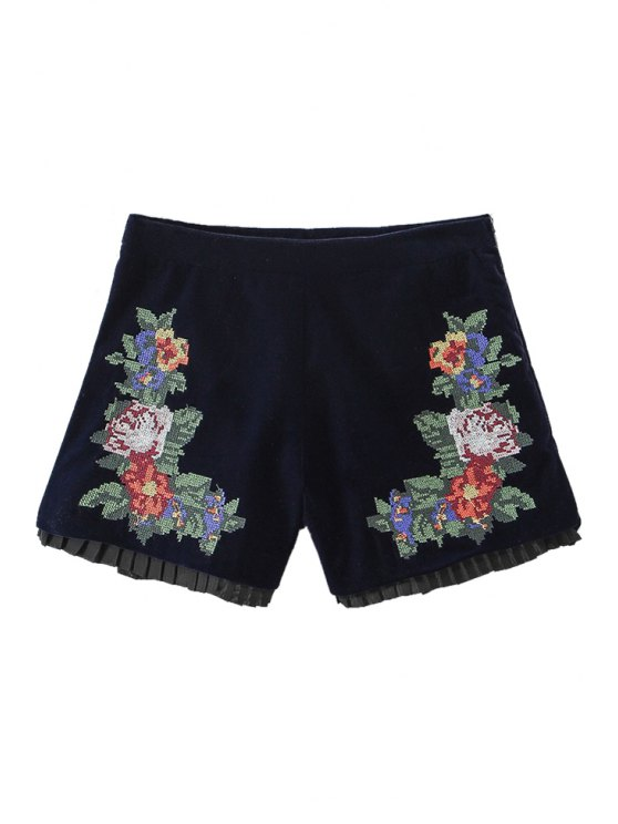 ladies Floral Embroidery High Waisted Shorts - CADETBLUE S
