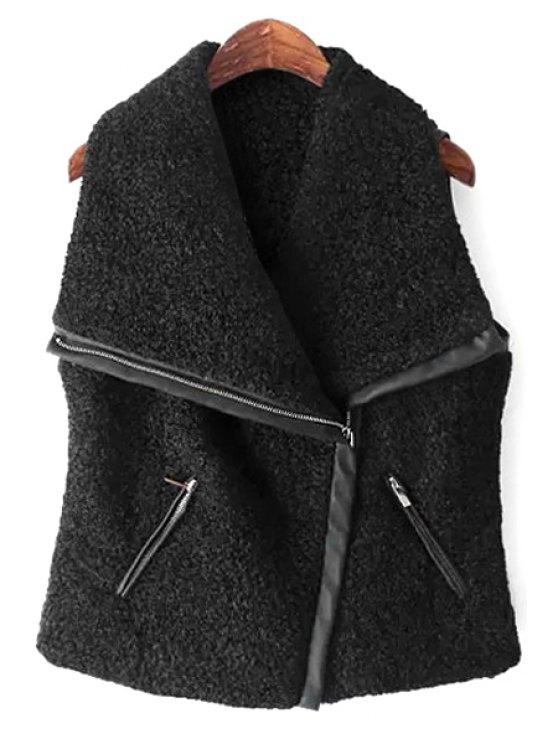 outfit Splicing Sleeveless Zipper Waistcoat - BLACK S