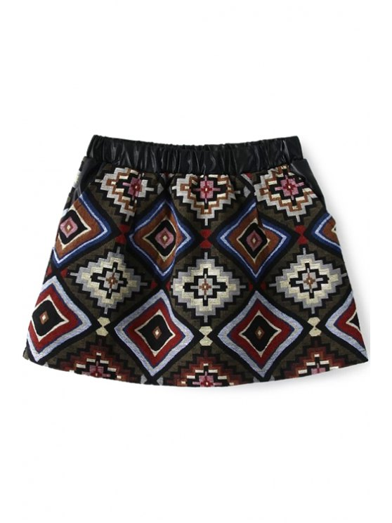 chic A-Line Ethnic Pattern Skirt - RED M