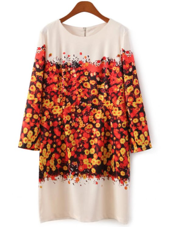 lady Floral Print Long Sleeve Dress - COLORMIX S