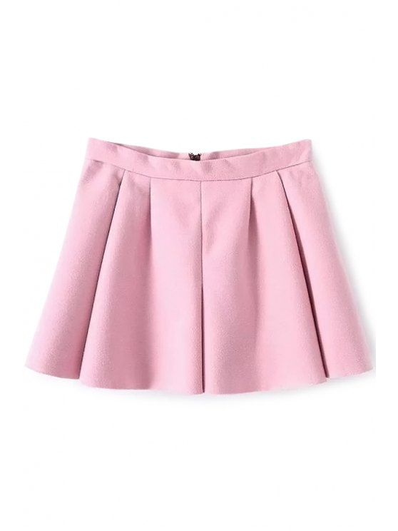 best Solid Color A-Line Skirt - PINK M