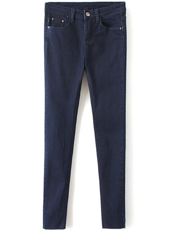 new Solid Color Narrow Feet Jeans - DEEP BLUE 27