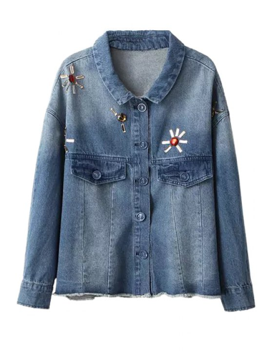 ladies Diamante Turn-Down Collar Denim Jacket - BLUE S