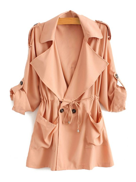 lady Solid Color Lapel Long Sleeve Trench Coat - PINK S