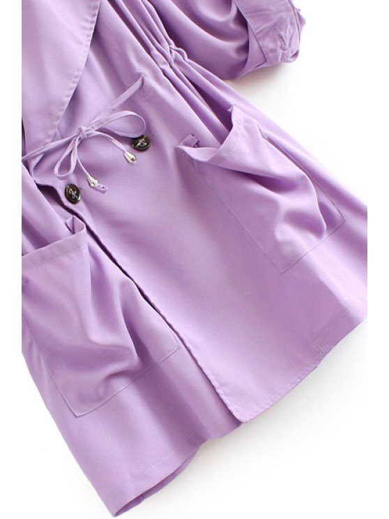 Solid Color Lapel Long Sleeve Trench Coat - PINK S Mobile