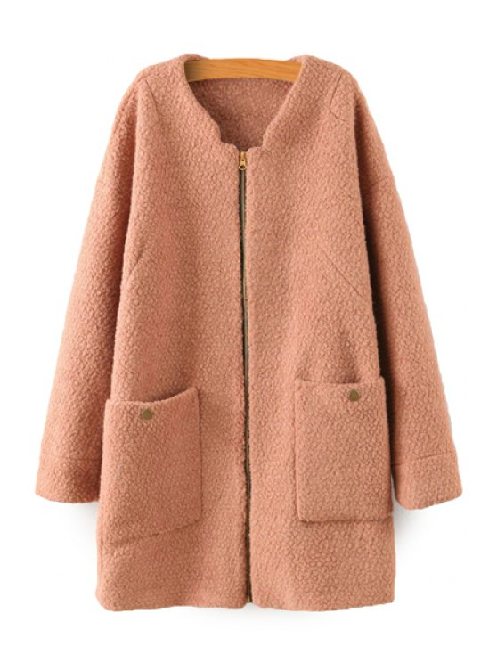 new Solid Color Long Sleeve Coat - CAMEL S