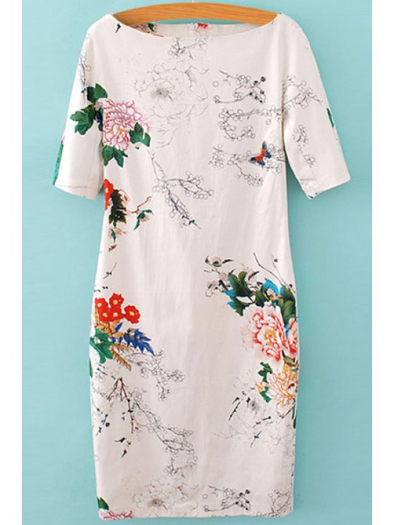 women's Floral Print Short Sleeve Dress - WHITE S