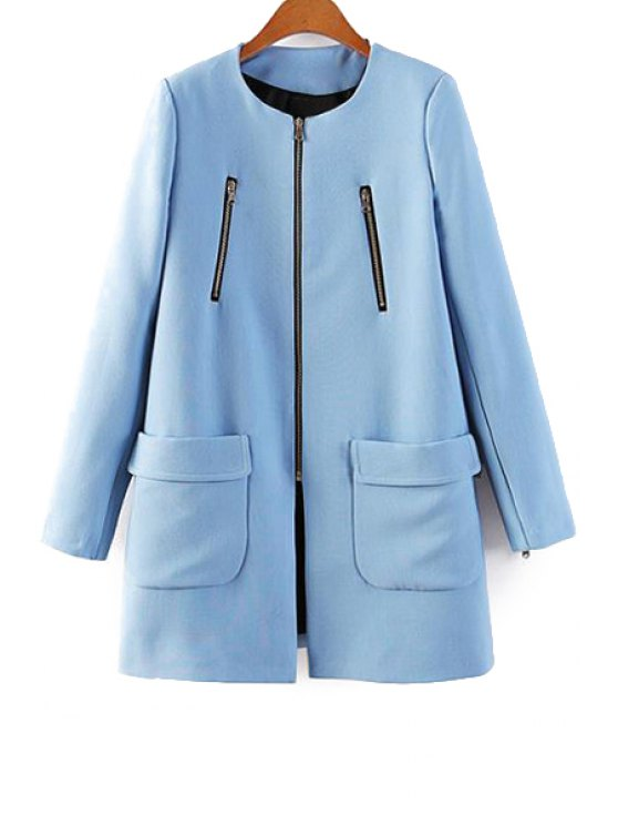 hot Blue Long Sleeve Zipper Coat - BLUE S
