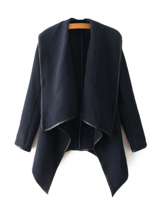 chic PU Leather Splicing Long Sleeve Coat - PURPLISH BLUE L