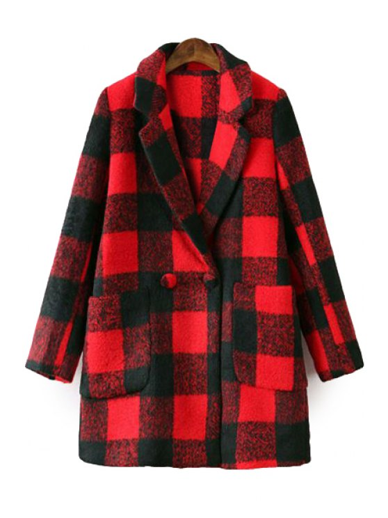 buy Plaid Lapel Long Sleeve Coat - RED M