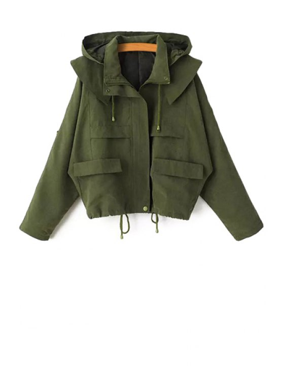 women Solid Color Hooded Long Sleeve Coat - ARMY GREEN M