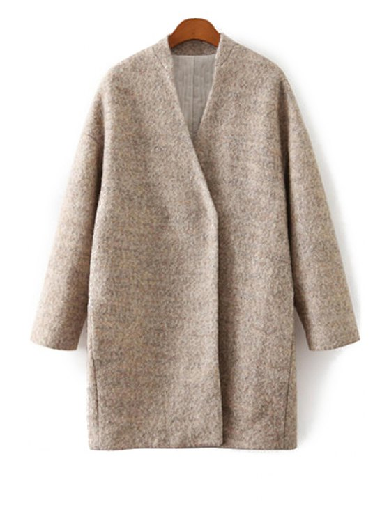 hot Solid Color V-Neck Worsted Coat - KHAKI S