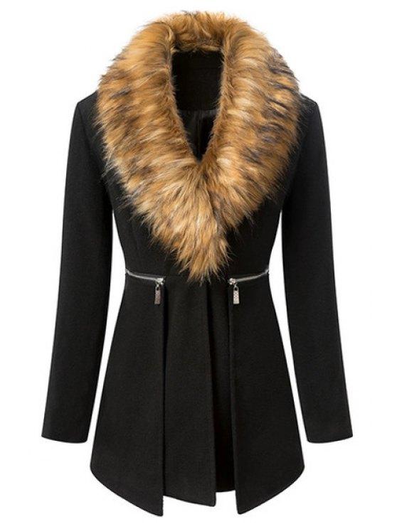 affordable Black Long Sleeve Faux Fur Coat - BLACK S