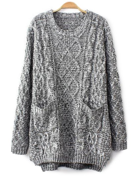 trendy Cable-Knit Long Sleeve Sweater - GRAY ONE SIZE(FIT SIZE XS TO M)