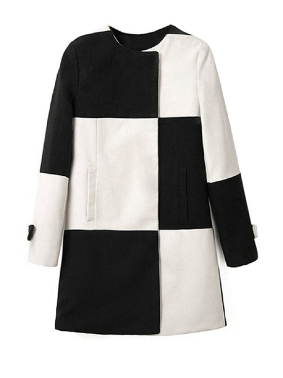 chic Color Block Long Sleeve Coat - WHITE AND BLACK S