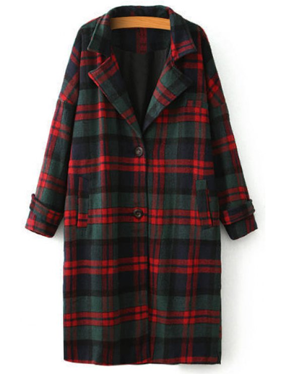 ladies Plaid Long Sleeve Lapel Coat - CHECKED ONE SIZE(FIT SIZE XS TO M)