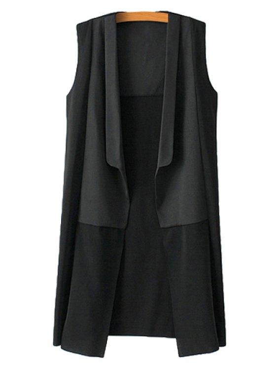 hot Black Turn-Down Collar Waistcoat - BLACK M