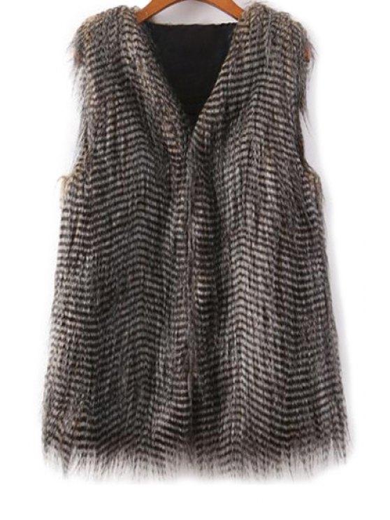 shops Striped V-Neck Faux Fur Waistcoat - BLACK S