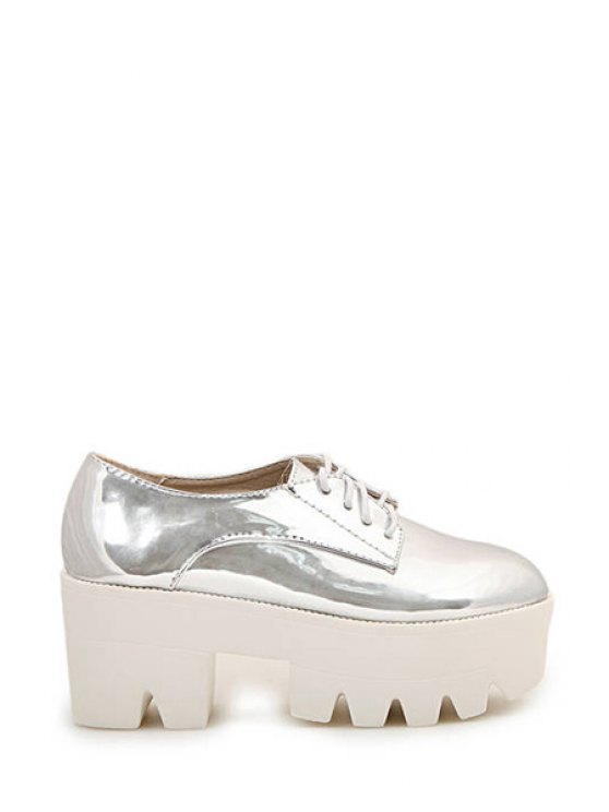best Silver Patent Leather Platform Shoes - SILVER 35