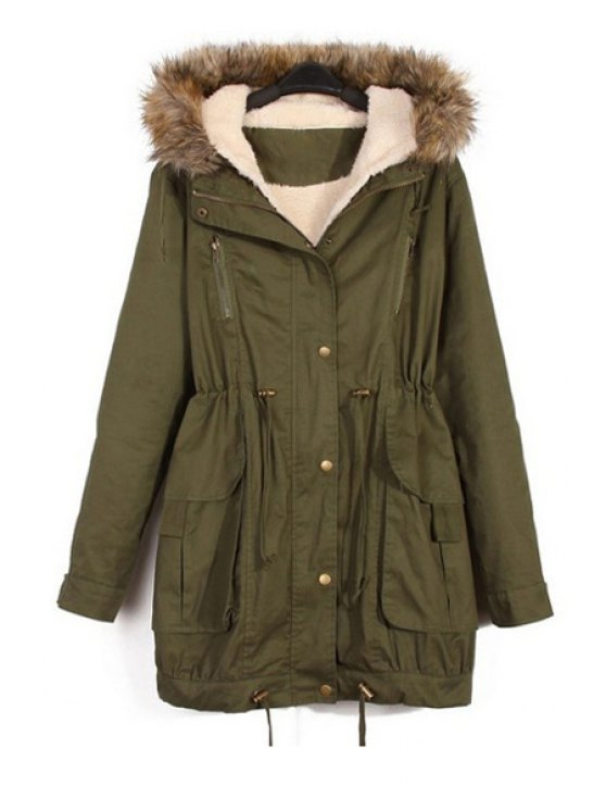 outfits Faux Fur Splicing Hooded Coat - ARMY GREEN XS