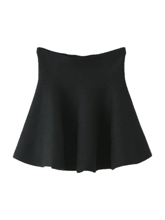 ladies Solid Color Flouncing Knit Skirt - BLACK ONE SIZE(FIT SIZE XS TO M)