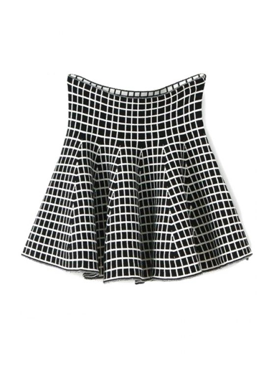 shops Plaid Pattern Flouncing Knit Skirt - CHECKED ONE SIZE(FIT SIZE XS TO M)