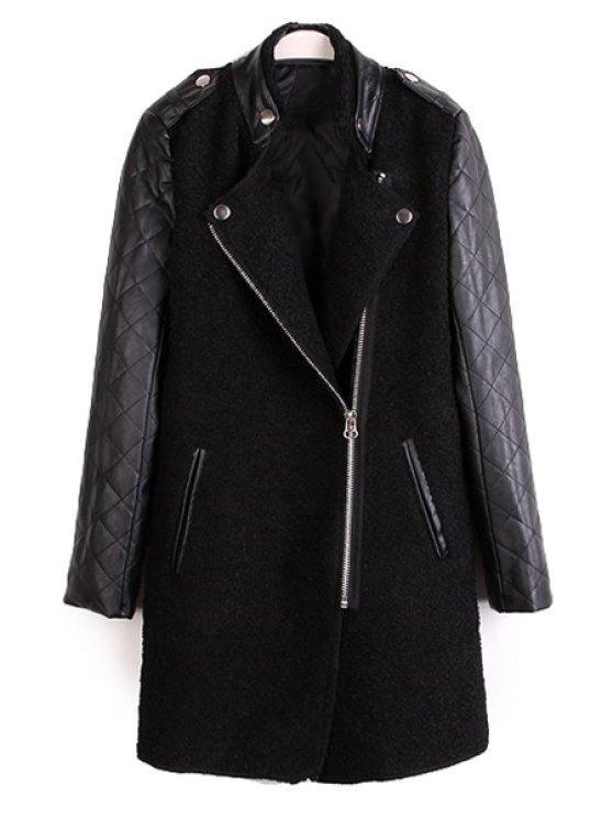 sale Faux Leather Splicing Long Sleeve Coat - BLACK S