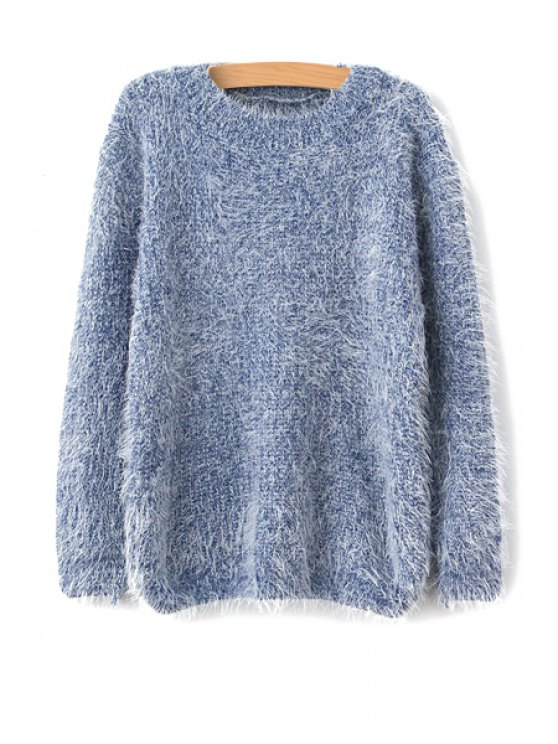 fashion Solid Color Long Sleeve Mohair Sweater - BLUE ONE SIZE(FIT SIZE XS TO M)