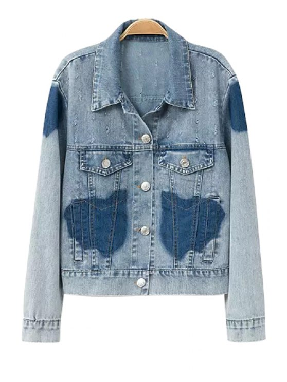 outfit Color Block Long Sleeve Denim Jacket - LIGHT BLUE S